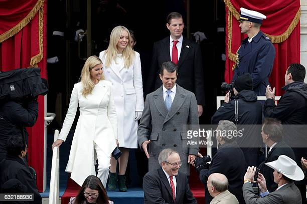 Donald Trump's children Ivanka Trump Tiffany Trump Donald Trump Jr and Eric Trump arrive on the West Front of the US Capitol on January 20 2017 in...