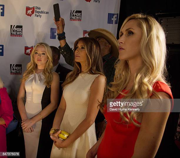Donald Trump's daughter Tiffany wife Melania and daughterinlaw Lara wait backstage at the first televised Republican Party debate at the Quicken...