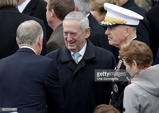 Donald Trump's Defense Secretary Gen James Mattis arrives on the West Front of the US Capitol on January 20 2017 in Washington DC In today's...