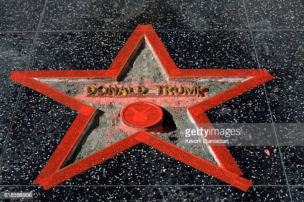 Donald Trump's 'Hollywood Walk Of Fame Star is repaired after it was vandalized October 26 2016 in Hollywood California