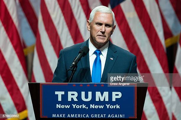 Donald Trump's newly selected vice presidential running mate Mike Pence governor of Indiana speaks during an event at the Hilton Midtown Hotel July...
