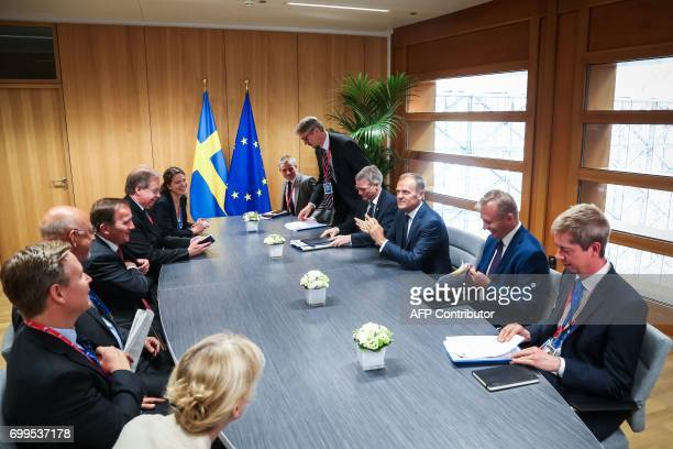 Donald Tusk President of the EU Council meets Stefan Lofven Swedish Prime Minister in Brussels on June 22 2017 / AFP PHOTO / Aurore Belot
