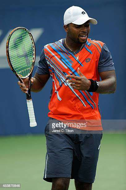 Donald Young looks on during the WinstonSalem Open at Wake Forest University on August 20 2014 in Winston Salem North Carolina