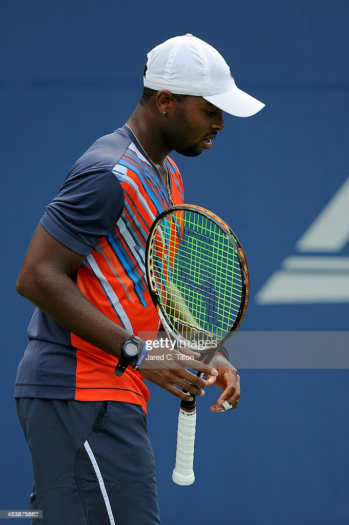 Donald Young looks on during the Winston-Salem Open at Wake Forest University on August 20, 2014 in Winston Salem, North Carolina.