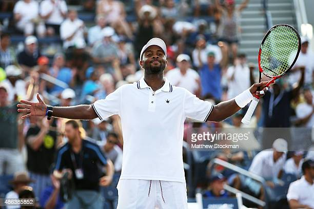 Donald Young of the United States celebrates after defeating Aljaz Bedene of Great Britain during their Men's Singles Second Round match on Day Four...
