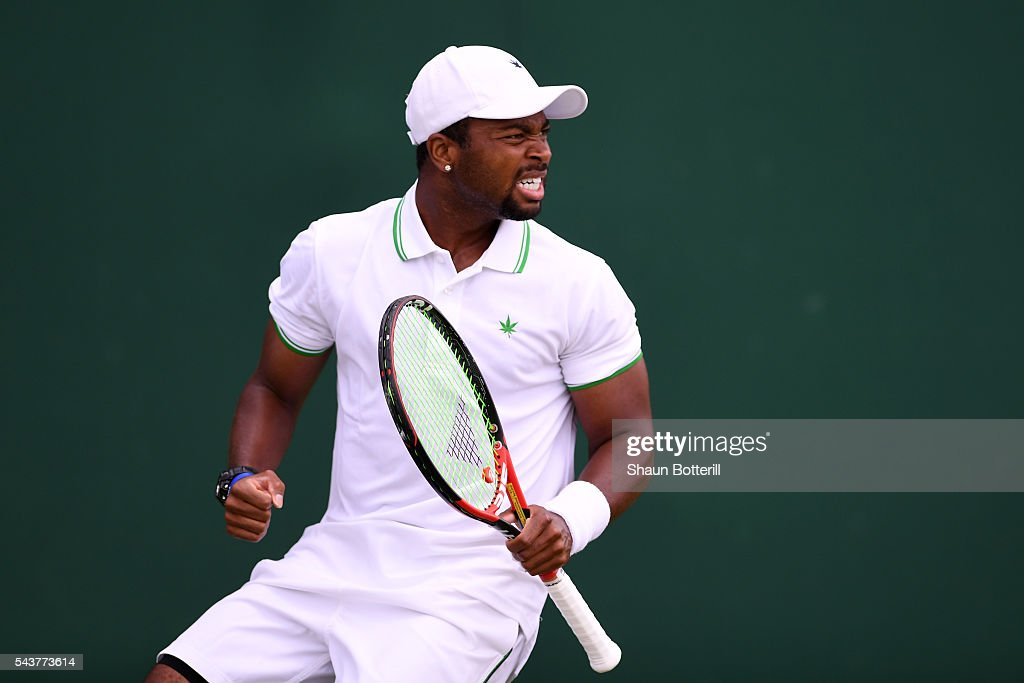 <a gi-track='captionPersonalityLinkClicked' href=/galleries/search?phrase=Donald+Young+-+Tennis+Player&family=editorial&specificpeople=194754 ng-click='$event.stopPropagation()'>Donald Young</a> of The United States celebrates victory during Men's Singles first round match against Leonardo Mayer of Argentina on day four of the Wimbledon Lawn Tennis Championships at the All England Lawn Tennis and Croquet Club on June 30, 2016 in London, England.