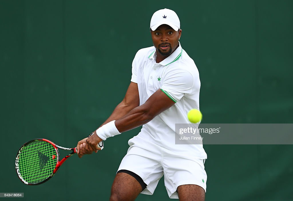 <a gi-track='captionPersonalityLinkClicked' href=/galleries/search?phrase=Donald+Young+-+Tennis+Player&family=editorial&specificpeople=194754 ng-click='$event.stopPropagation()'>Donald Young</a> of The United States plays a forehand during the Men's Singles first round match against Leonardo Mayer of Argentina on day two of the Wimbledon Lawn Tennis Championships at the All England Lawn Tennis and Croquet Club on June 28, 2016 in London, England.