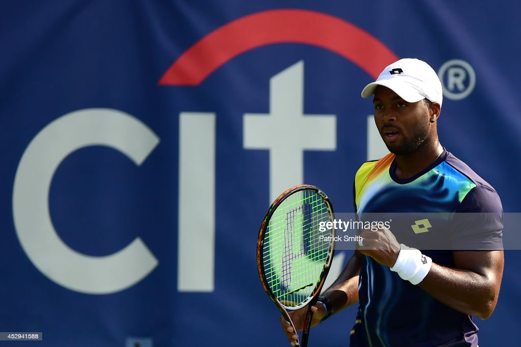 Donald Young of the United States reacts during a match against Julien Benneteau of France during Day 3 of the Citi Open at the William H.G. FitzGerald Tennis Center on July 30, 2014 in Washington, DC.