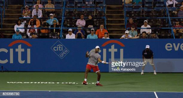 Donald Young of United State competes against Kei Nishikori of Japan at William HG FitzGerald Tennis Center on August 1 2017 in Washington DC