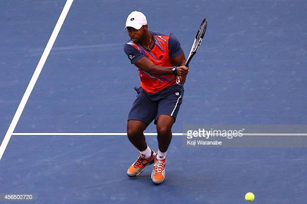 Donald Young of USA in action during men's second match against Kei Nishikori of Japan on day four of Rakuten Open 2014 at Ariake Colosseum on...
