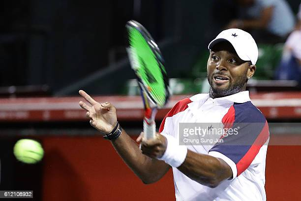 Donald Young of USA in action during the men's singles first round match against Kei Nishikori of Japan on day one of Rakuten Open 2016 at Ariake...