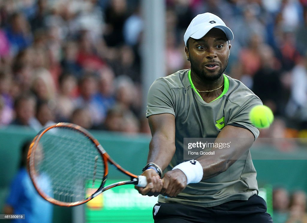 Donald Young of USA plays a shot against David Ferrer of Spain during day three of the Heineken Open which Ferrer won 6-7, 6-3, 6-1 at ASB Tennis Centre on January 8, 2014 in Auckland, New Zealand.