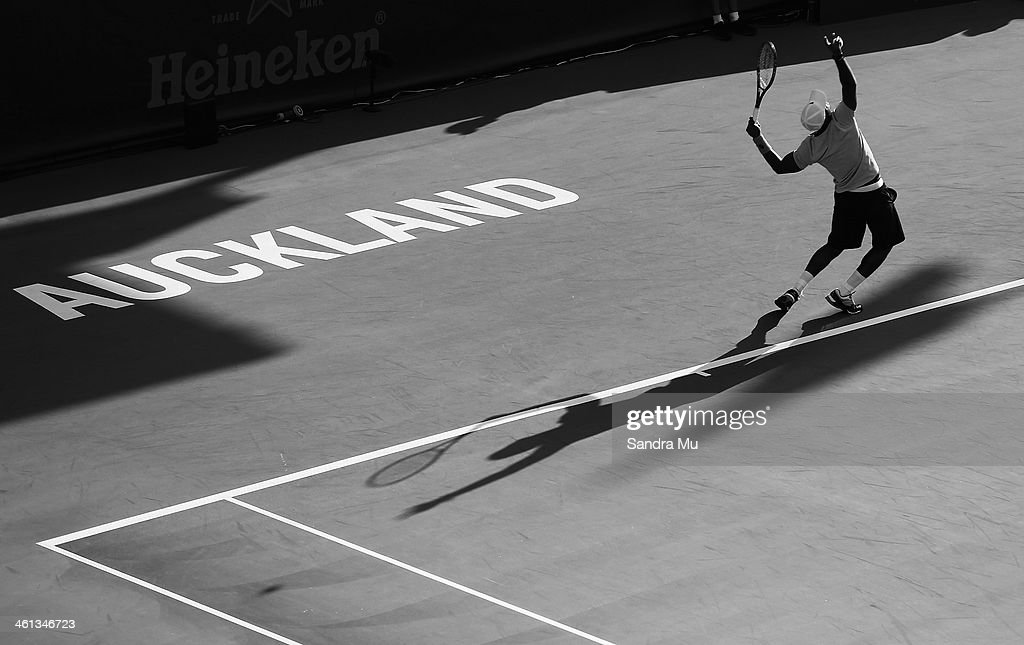 <a gi-track='captionPersonalityLinkClicked' href=/galleries/search?phrase=Donald+Young&family=editorial&specificpeople=194754 ng-click='$event.stopPropagation()'>Donald Young</a> of USA serves during his match against David Ferrer of Spain on day three of the Heineken Open at ASB Tennis Centre on January 8, 2014 in Auckland, New Zealand.