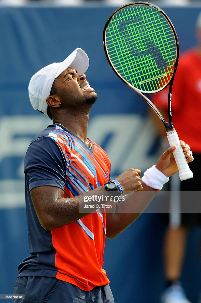 Donald Young reacts after losing a point to Guillermo Garcia-Lopez of Spain during the Winston-Salem Open at Wake Forest University on August 20, 2014 in Winston Salem, North Carolina.