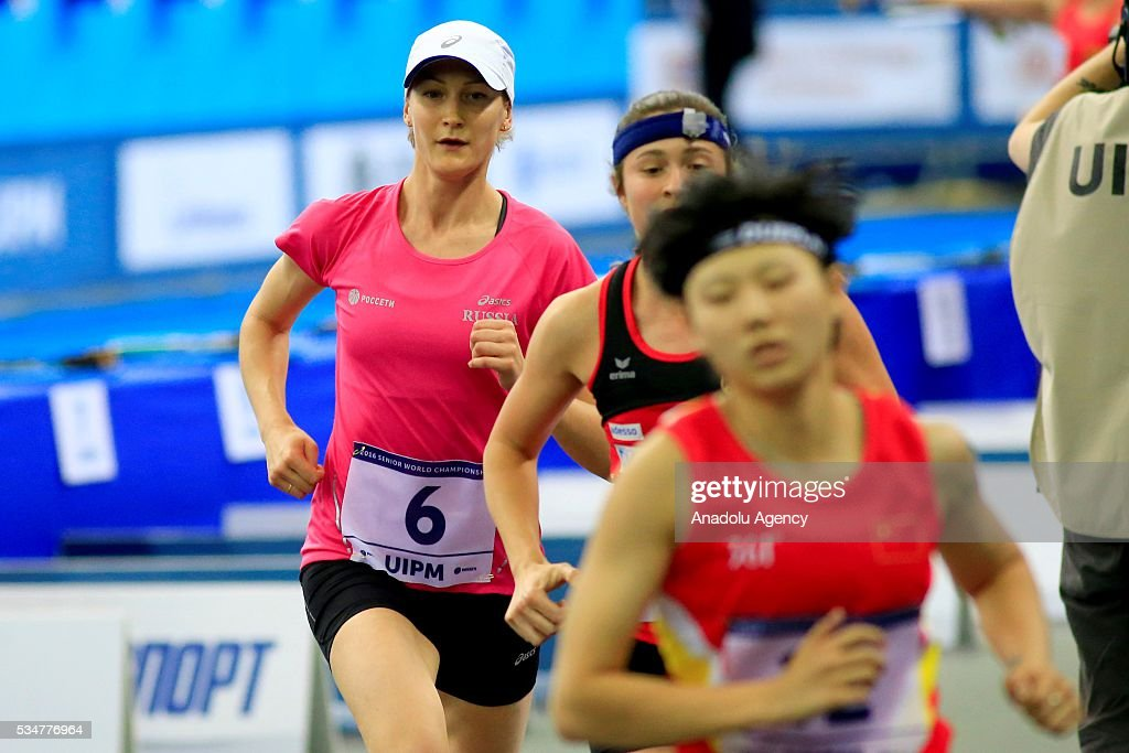 Donata Rimsaite (6) of Russia competes during the women's final at the UIPM senior modern pentathlon world championships in Moscow, Russia, on May 27, 2016.