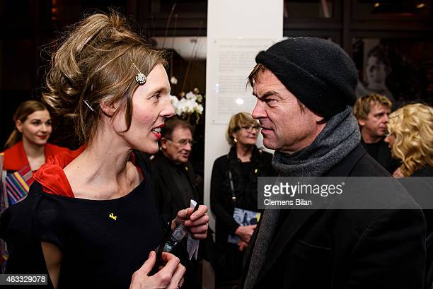 Donata Wenders and Andreas Frege aka Campino of the band Die Toten Hosen attend the WarmUp at the Glashuette Original lounge during the 65th...