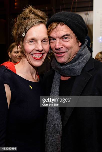 Donata Wenders and Campino attend the WarmUp at the Glashuette Original lounge during the 65th Berlinale International Film Festival at Kollhoff...