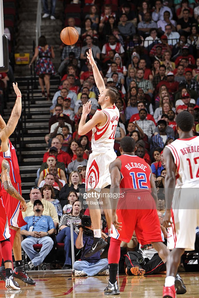 <a gi-track='captionPersonalityLinkClicked' href=/galleries/search?phrase=Donatas+Motiejunas&family=editorial&specificpeople=5561687 ng-click='$event.stopPropagation()'>Donatas Motiejunas</a> #20 of the Houston Rockets shoots against the Los Angeles Clippers on March 30, 2013 at the Toyota Center in Houston, Texas.