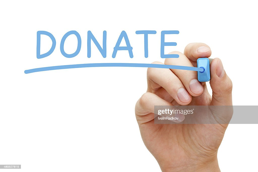 Donate Blue Marker : Stock Photo