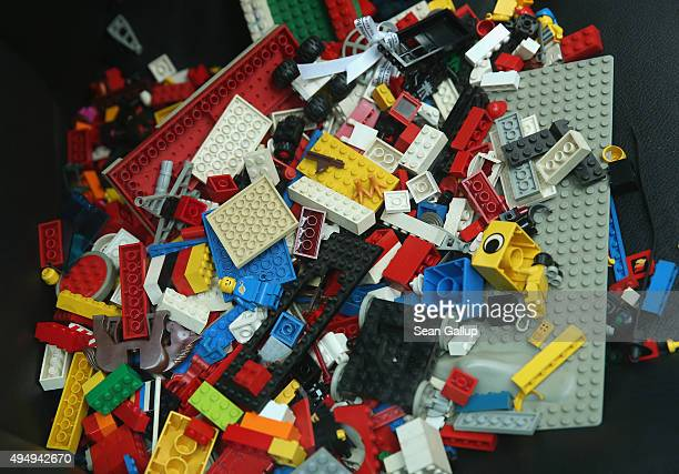Donated Lego pieces lie on the front seat of a BMW car that is being used as a collection point for Lego donations for Chinese artist Ai Weiwei next...