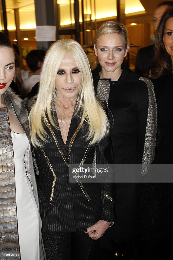 Donatela Versace and Princess <a gi-track='captionPersonalityLinkClicked' href=/galleries/search?phrase=Charlene+-+Princess+of+Monaco&family=editorial&specificpeople=726115 ng-click='$event.stopPropagation()'>Charlene</a> of Monaco attend the Versace Spring/Summer 2013 Haute-Couture show as part of Paris Fashion Week at Le Centorial on January 20, 2013 in Paris, France.