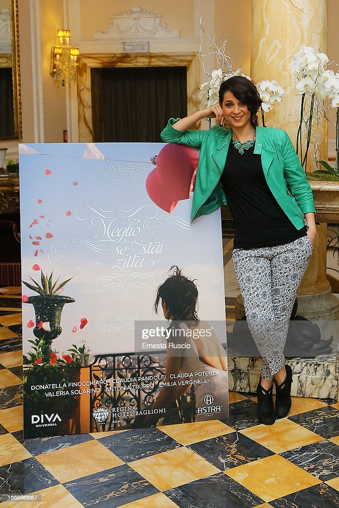 Donatella Finocchiaro attends the 'Meglio Se Stai Zitta' photocall at Hotel Regina Baglioni on April 18, 2013 in Rome, Italy.