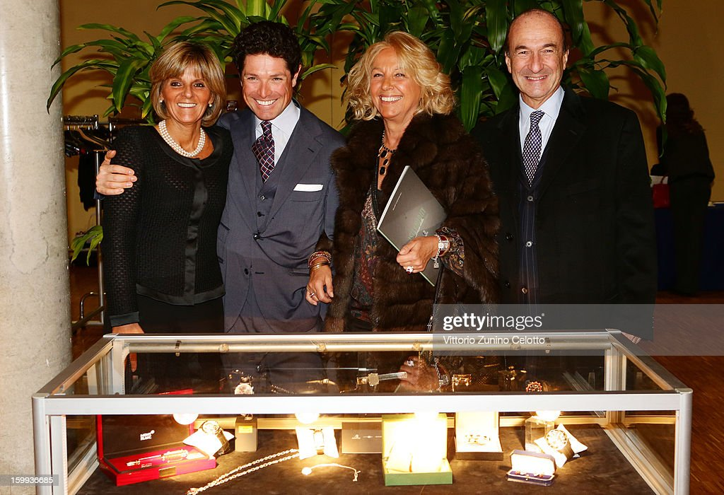 Donatella Treu, Matteo Marzotto, Maria Franca Norsa and Michele Norsa attend the Sotheby's charity auction for FFC Onlus on January 23, 2013 in Milan, Italy.