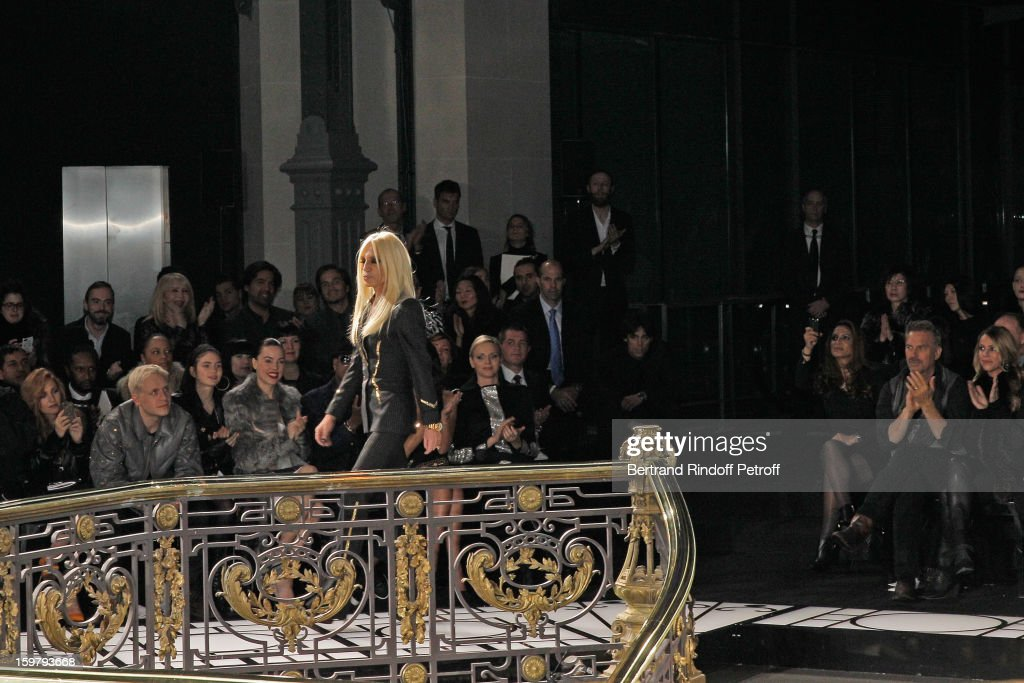 Donatella Versace acknowledges applause following the Versace Spring/Summer 2013 Haute-Couture show as part of Paris Fashion Week at Le Centorial on January 20, 2013 in Paris, France.