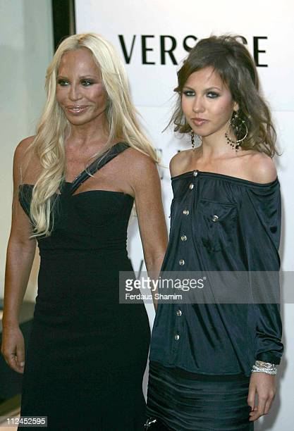 Donatella Versace and Allegra Beck during Elle Magazine 21st Birthday Outside Arrivals at Versace Store in London Great Britain