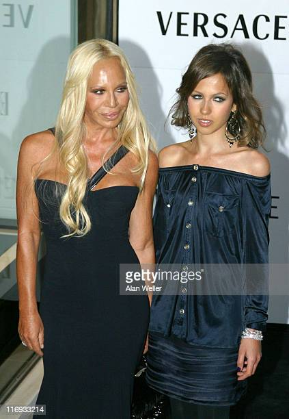 Donatella Versace and Allegra Beck during Elle Magazine 21st Anniversary Party Red Carpet Arrivals at Versace Boutique in London Great Britain