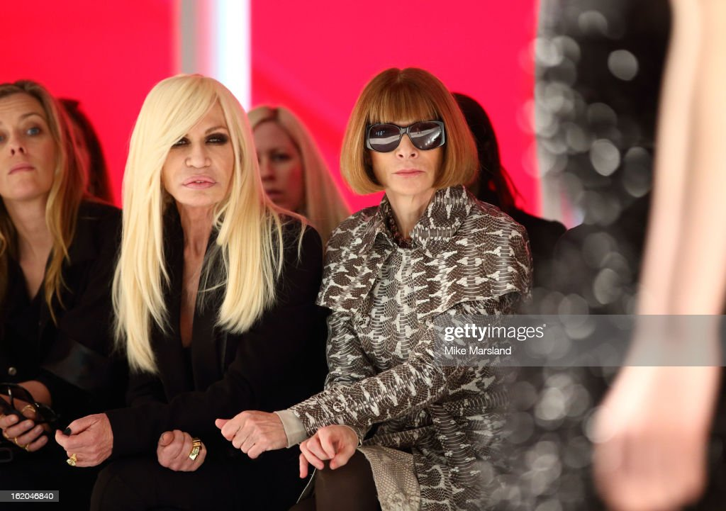 Donatella Versace and <a gi-track='captionPersonalityLinkClicked' href=/galleries/search?phrase=Anna+Wintour&family=editorial&specificpeople=202210 ng-click='$event.stopPropagation()'>Anna Wintour</a> attend the Christopher Kane show during London Fashion Week Fall/Winter 2013/14 at on February 18, 2013 in London, England.