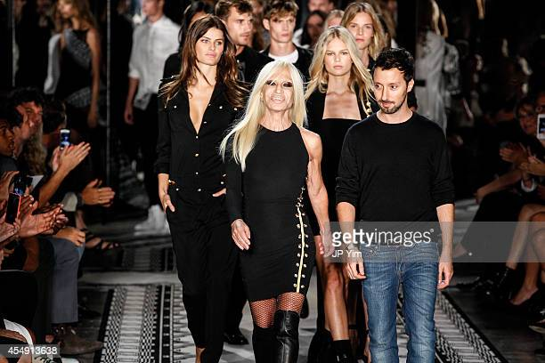 Donatella Versace and designer Anthony Vaccrello walk the runway at the Versus Versace Spring 2015 Collection during MercedesBenz Fashion Week at...