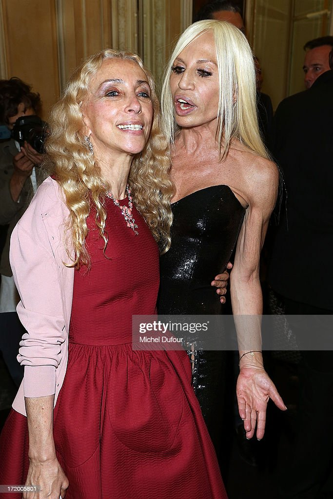 Donatella Versace and <a gi-track='captionPersonalityLinkClicked' href=/galleries/search?phrase=Franca+Sozzani&family=editorial&specificpeople=639425 ng-click='$event.stopPropagation()'>Franca Sozzani</a> backstage after the Versace show as part of Paris Fashion Week Haute-Couture Fall/Winter 2013-2014 at on June 30, 2013 in Paris, France.