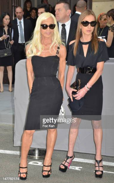 Donatella Versace and her daughter Allegra Versace arrive for the Christian Dior HauteCouture Show as part of Paris Fashion Week Fall/Winter 2013 on...