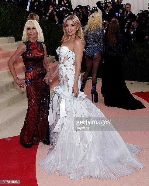 Donatella Versace and Kate Hudson attend 'Manus x Machina Fashion in an Age of Technology' the 2016 Costume Institute Gala at the Metropolitan Museum...