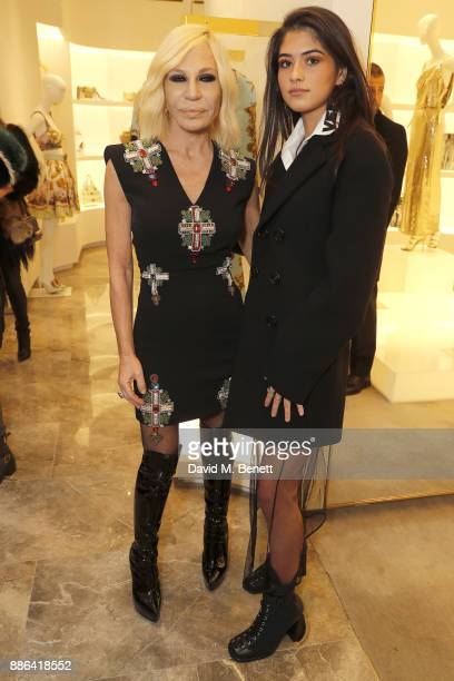 Donatella Versace and Kim Turnbull attend the launch of the new Versace Sloane Street store on December 5 2017 in London England