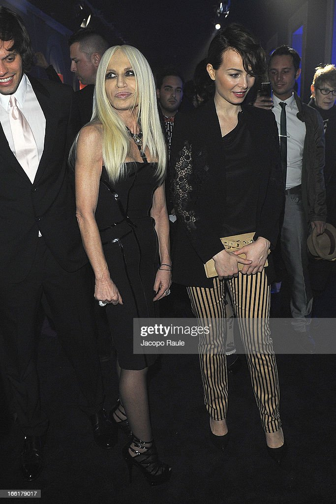Donatella Versace (L) and <a gi-track='captionPersonalityLinkClicked' href=/galleries/search?phrase=Violante+Placido&family=editorial&specificpeople=2377404 ng-click='$event.stopPropagation()'>Violante Placido</a> attend The Haas Bothers For Versace Home during 2013 Milan Design Week on April 9, 2013 in Milan, Italy.