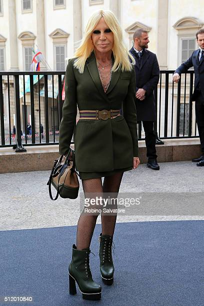 Donatella Versace attends a photocall for the opening lunch of Milan Fashion Week Fall/Winter 2016/17 on February 24 2016 in Milan Italy