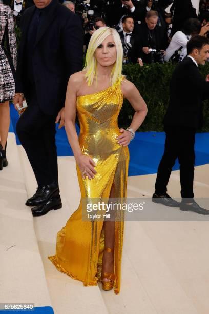 Donatella Versace attends 'Rei Kawakubo/Commes Des Garcons Art of the InBetween' the 2017 Costume Institute Benefit at Metropolitan Museum of Art on...