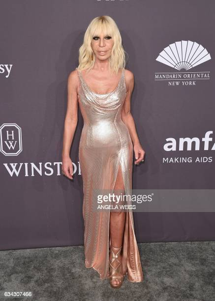 Donatella Versace attends the 19th annual amfAR's New York Gala to kick off NY Fashion Week at Cipriani Wall Street on February 8 2017 in New York...