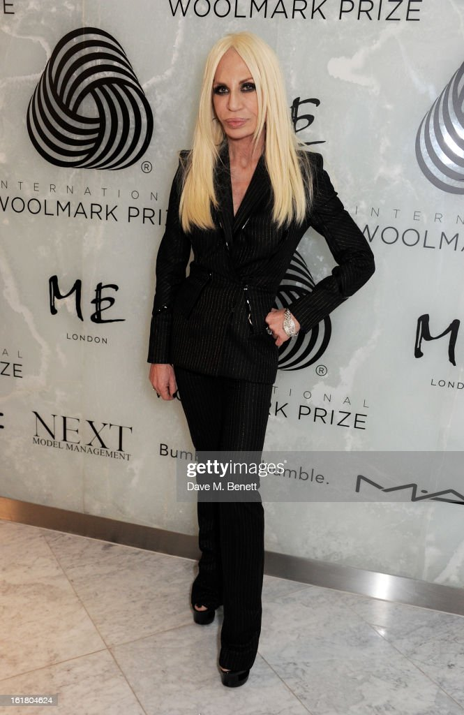 Donatella Versace attends the 2013 International Woolmark Prize Final at ME London on February 16, 2013 in London, England.