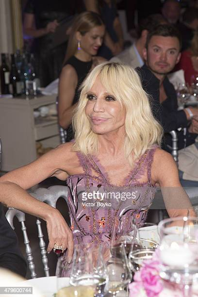 Donatella Versace attends the amfAR dinner at the Pavillon LeDoyen during the Paris Fashion Week Haute Couture on July 5 2015 in Paris France
