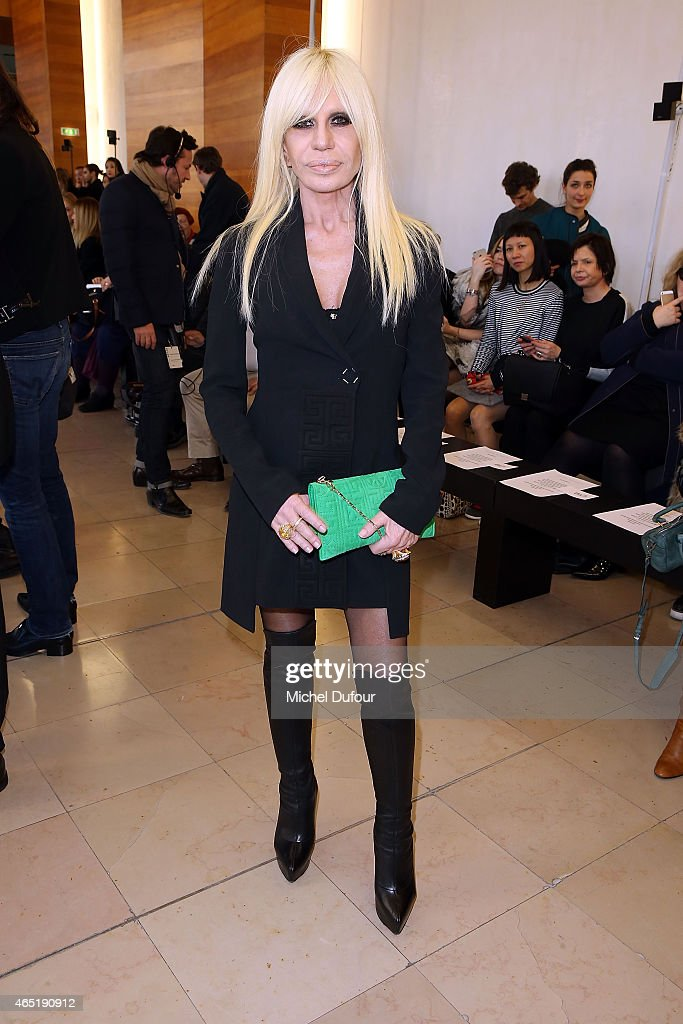 <a gi-track='captionPersonalityLinkClicked' href=/galleries/search?phrase=Donatella+Versace&family=editorial&specificpeople=202209 ng-click='$event.stopPropagation()'>Donatella Versace</a> attends the Anthony Vaccarello show as part of the Paris Fashion Week Womenswear Fall/Winter 2015/2016 on March 3, 2015 in Paris, France.