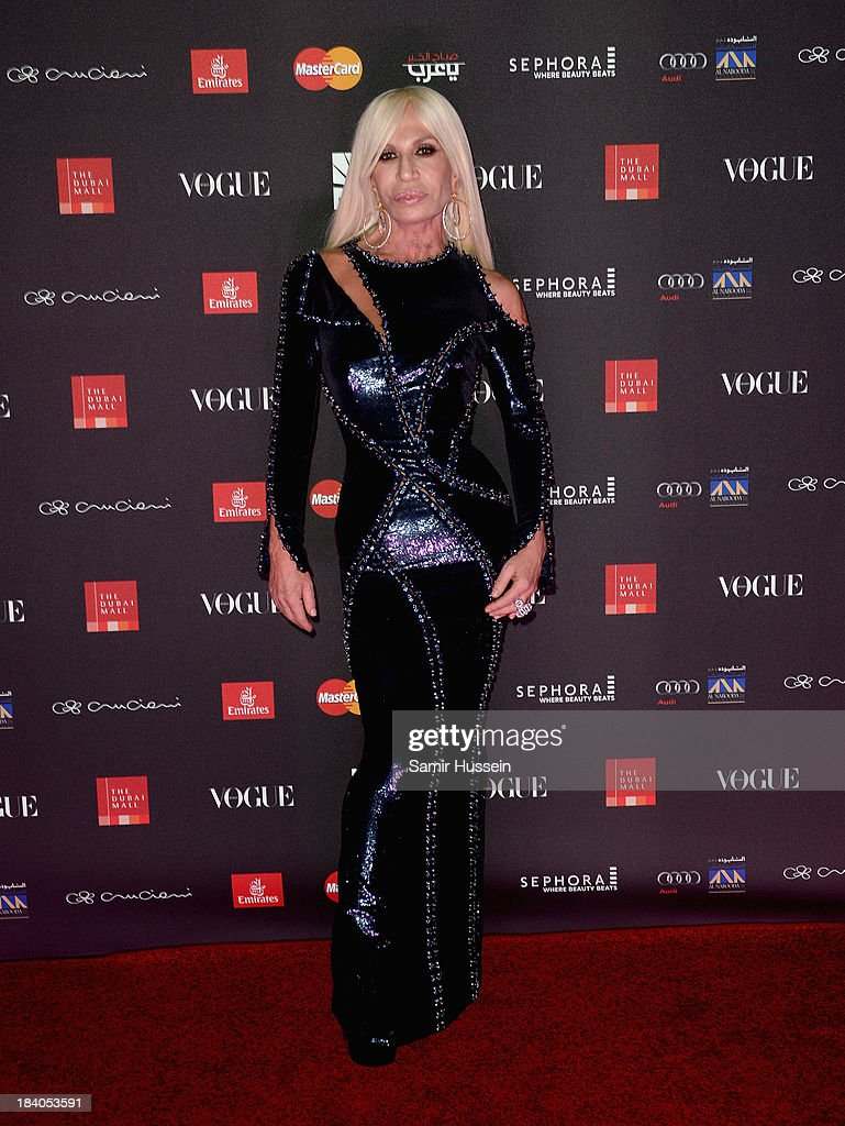 <a gi-track='captionPersonalityLinkClicked' href=/galleries/search?phrase=Donatella+Versace&family=editorial&specificpeople=202209 ng-click='$event.stopPropagation()'>Donatella Versace</a> attends the gala dinner at the Armani Pavilion during Vogue Fashion Dubai Experience on October 10, 2013 in Dubai, United Arab Emirates.
