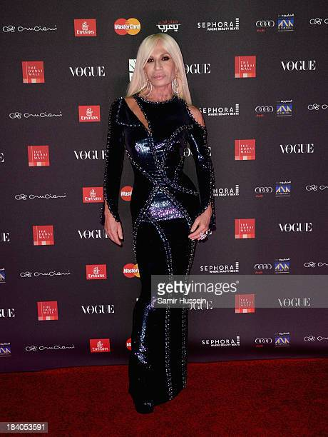 Donatella Versace attends the gala dinner at the Armani Pavilion during Vogue Fashion Dubai Experience on October 10 2013 in Dubai United Arab...