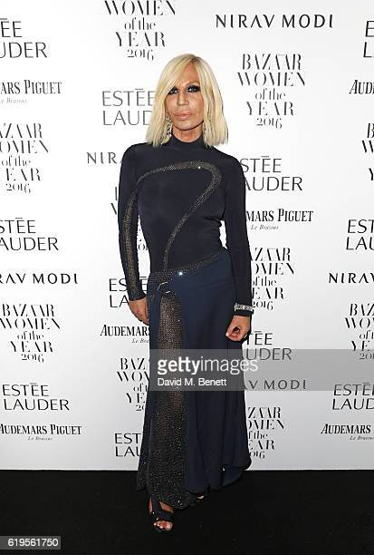 Donatella Versace attends the Harper's Bazaar Women of the Year Awards 2016 at Claridge's Hotel on October 31 2016 in London England