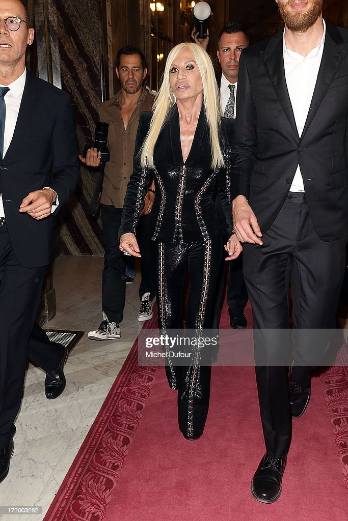 Donatella Versace backstage after the Versace show as part of Paris Fashion Week Haute-Couture Fall/Winter 2013-2014 at on June 30, 2013 in Paris, France.
