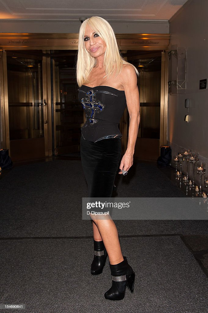 Donatella Versace is seen arriving at The Waldorf Towers on October 24, 2012 in New York City.