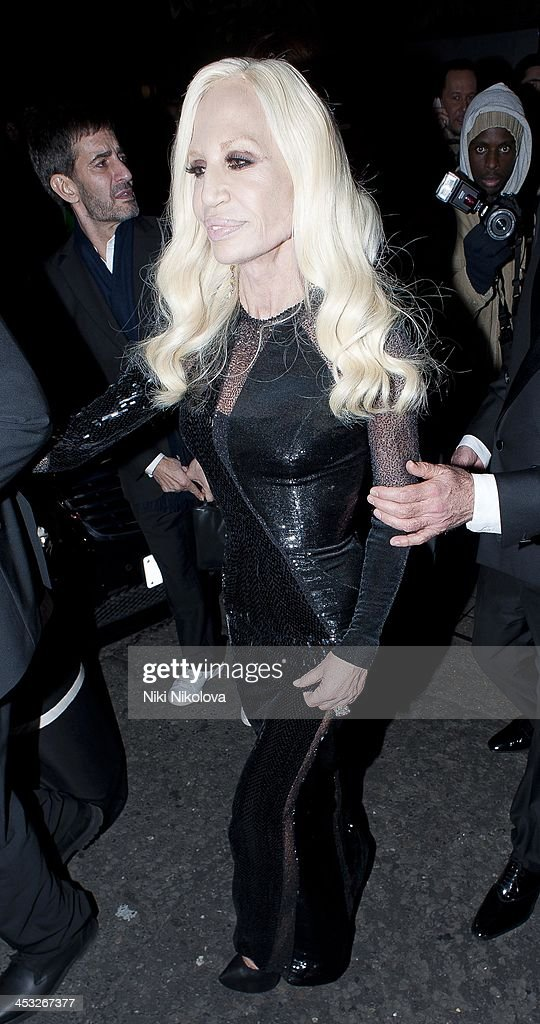 Donatella Versace is sighted leaving the British Fashion Awards 2013 on December 2, 2013 in London, England.