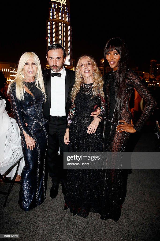 Donatella Versace, Riccardo Tisci, Franca Sozzani and Naomi Campbell attend the gala dinner at the Armani Pavilion during Vogue Fashion Dubai Experience on October 10, 2013 in Dubai, United Arab Emirates.